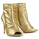 Buffalo Damen High Heels Stiefeletten Stilettos Leder Peeptoes ZS6753-16 (35, Gold)