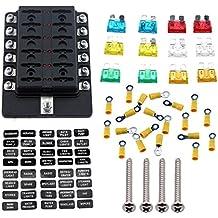 Carviya Ambuker 12-Way Blade Fuse Box with LED Indicator - Fuse Block for Automotive with fuse and spade terminals and wiring kits (12 Way)