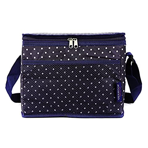 TEAMOOK Large Insulated Lunch Bag Lunch Tote Box Dots 1Pcs 24 cans