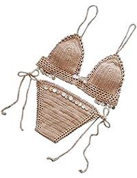 Quistal - Bikini de crochet con lentejuelas, estilo bohemio