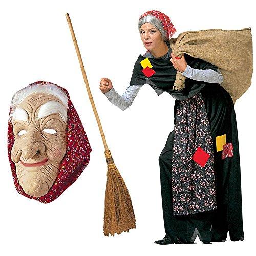 KIT Costume da BEFANA + SCOPA + MASCHERA per adulti COMPLETO Epifania (COSTUME + SCOPA + MASCHERA)