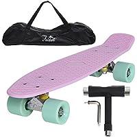 """Yorbay 22"""" Mini Cruiser Skate 56cm Skateboard complet avec le sac et T-Tool"""