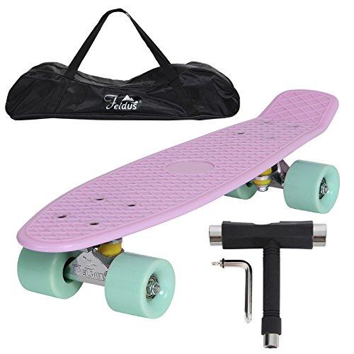 (UPGRADE VERSION)Yorbay 22' monopatín skateboard retro con la bolsa y T-herramientas ABEC- 7 Rodamiento Rueda PU de 59MM hasta 100kg (tabla rosa/ruedas verde)