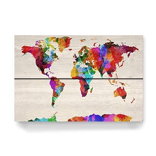 artboxONE Holzbild 30x20 cm Reise/Länder World Map Abstract Painting I von Künstler Michael Tompsett - Michael Tompsett Weltkarte