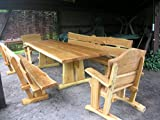 Rustikale Gartenmöbel, Sitzgruppe, Sitzgarnitur, Eiche, 3 m