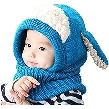 Ularma Inverno Bambini Delle Ragazze Dei Neonati Caldi Coif Lana Berretti  Sciarpe Cappelli Cappuccio 0f697744ca89