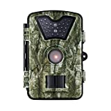 """VicTsing HD Game&Trail Wildlife Camera with with Infrared 24 Black LEDs 8MP 720P 2.4"""" LCD Screen IP66 Waterproof Night Vision Hunting Scouting Surveillance Camera - Never Scare the Animals"""