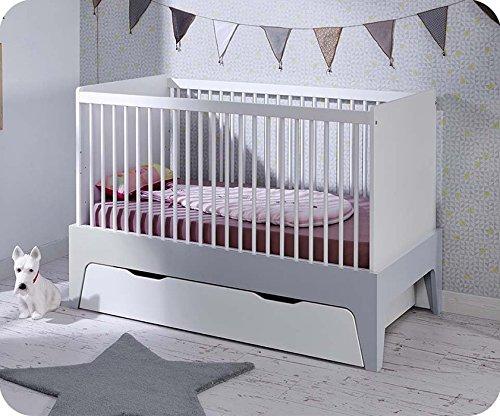 Paket Mitwachsendes Babybett Oléron weiß und hellgrau mit Schublade und Matratze