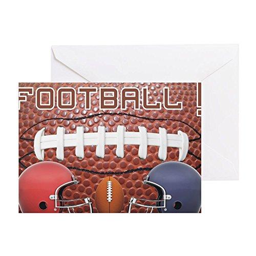 CafePress-Football mit Helmen-Grußkarte, Note Karte, Geburtstagskarte, innen blanko, glänzend (Schweinsleder-football-helm)