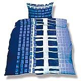 CelinaTex aqua-textil 0500071 Living 3-tlg. Bettwäsche 4-Jahreszeiten 200 x 220 cm Mikrofaser Bettbezug OEKO-TEX 3 teilig Budapest weiß blau