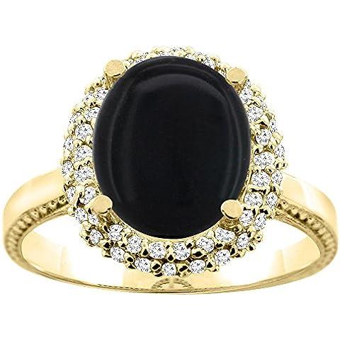 """In oro giallo e bianco 14 kt, colore: nero Onyx, Halo Anello ovale, 10 x 8 mm, taglio diamantato, larghezza 5,08 cm (2""""), taglie J-T"""