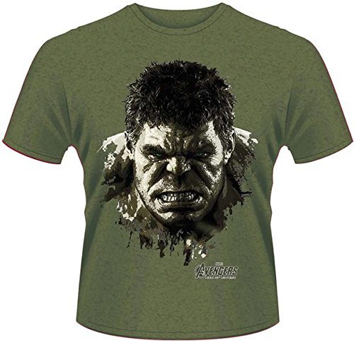 Playlogic International(World) - Avengers Age Of Ultron Hulk Face, T-shirt da uomo, verde (green), 2XL