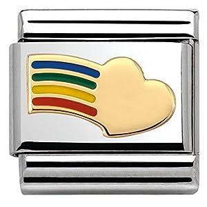 Nomination Damen-Armband Composable Classic Love 2 (Herz Regenbogen) Edelstahl 1 cm – 030283/12