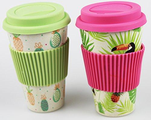 Ananas-set (2er Set Coffee to go Becher / Thermo - Kaffee - Becher - Silikondeckel - 400 ml umweltfreundlich- mehrfach verwendbar - organische Bambus Faser - spülmaschinenfest - Alternative zu Plastik und Keramik (2er Set : Tukan und Ananas))