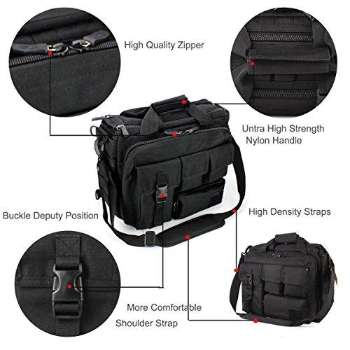 """GES Multifunktions -Mens im Freien taktischen Nylon Schulter Laptop Messenger Bag Aktentasche Handtaschen groß genug für 14 """"Laptop / Kamera / iPad (Schwarz) Schwarz"""