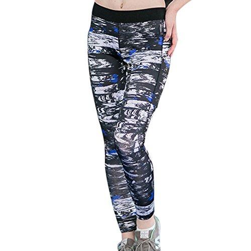 Vertvie Femme Leggings Imprimé Pantalons de sports Cuissard Slim pour Yoga Fitness Course Jogging Bleu