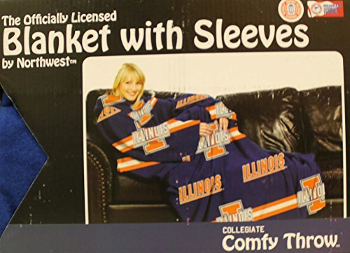 Comfy Throw Fleece Blanket with Sleeves Licensed College Emblems - Illinois Fighting Illini by Northwest Illinois Fleece Throw Blanket