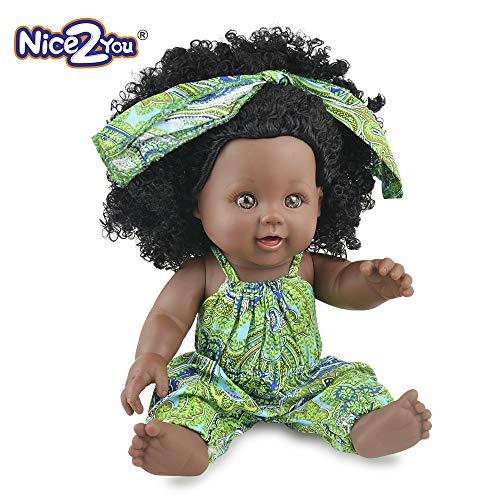 Nice2you muñeca de niña afroamericana Baby Play de 12 Pulgadas para niños Ideal para Regalo de cumpleaños