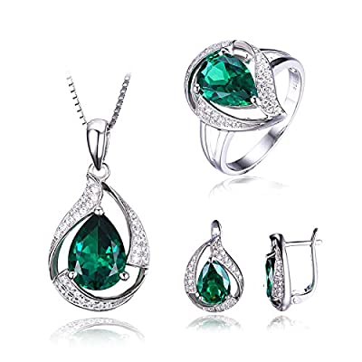 Schmuck Set Damen Geschenk Grün Luxus Russisch Smaragd Anhänger Halskette 45cm Box Kette