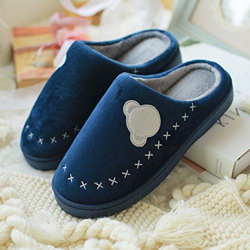 DogHaccd pantofole,Il cotone pantofole inverno femmina con trattamento di mezza pensione con anti-slittamento inverno spessa home pantofole di cotone caldo uomini e donne paio di scarpe di peluche Blu scuro1