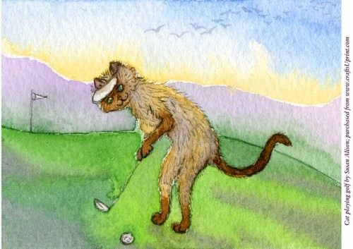 A4gatto Gioca a Golf by Susan Alison