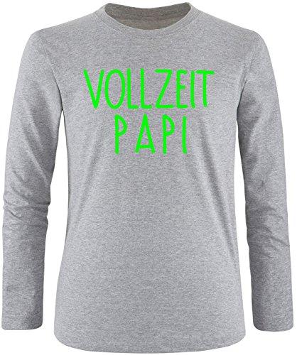EZYshirt® Vollzeit Papi Herren Longsleeve Grau/Neongrün