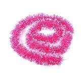 Hirolan Weihnachten Party Weihnachten Baum Blumen-Tribute Ornamente 2m Lametta Hängend Schuppen Dekorationen Hochzeit Band Feier Kranz (Pink)