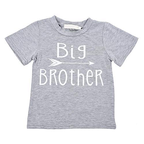 Kinder Kurzarm T-Shirt Baumwolle Rundhals Tops für 3-4 Jahre Baby Kindergeburtstag Fotografie täglich, Big Brother Briefe gedruckt