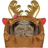 BEETEST Navidad Navidad mascota perro Reno cuernos estilo traje corto felpa Gorro con ganchos y bucles sujetador decoración de la Navidad L