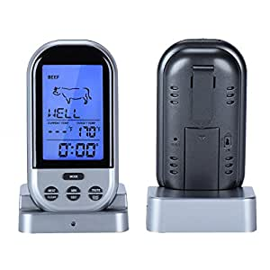 isport kabellos funk thermometer digital bbq fleisch thermometer thermometer f r grill ofen. Black Bedroom Furniture Sets. Home Design Ideas