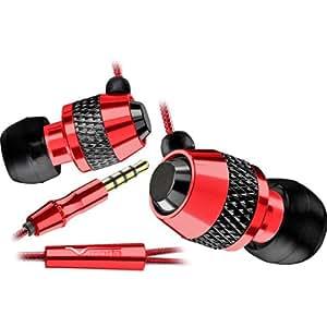 V-Moda - Casque Audio VIBE Red Roxx - Oreillettes intra auriculaires - Fiche plaquée or - compatible iPhone - Rouge