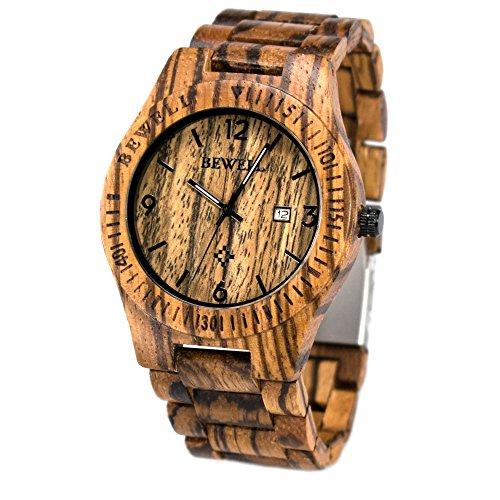 Bewell orologio in legno con scatola gifted orologio al quarzo tondo quadrante analogico con sconto orologio analogico con