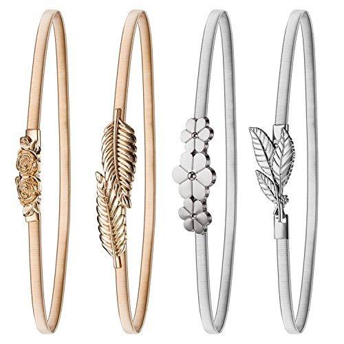 4 Pares de Cinturón Elástico de Mujeres Cintura de Vestido de Metal Estirable (Conjunto de Colores 3)
