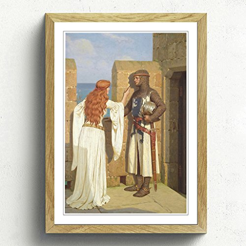 BIG Arty Pie Edmund Leighton The Shadow Framed Print with Oak Frame, Multi-Colour, 62 x 45 cm/24.5 x 18-Inch/A2