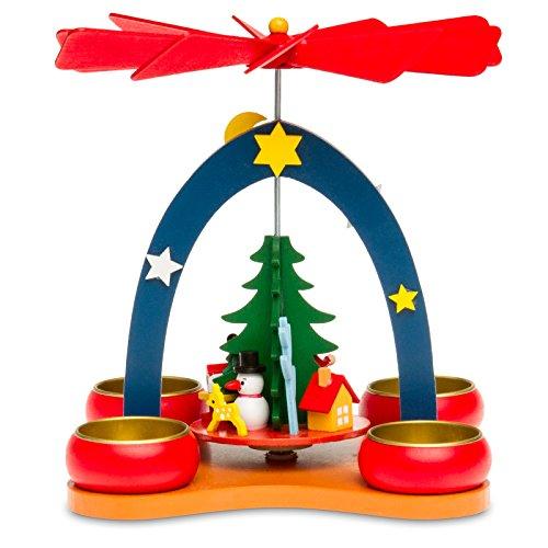 Sikora P26 Petite Pyramide de Noël Multicolore avec Bougies Chauffe-Plat en Bois - H:19cm