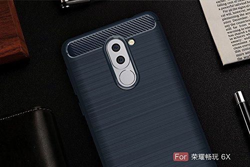 EKINHUI Case Cover Dünn und Leightweight Brushed Carbon Fibre Robuste Rüstung Back Cover Stoßstange Fall Shockproof Drop Resistance Shell Cover für Huawei Changwan 6x ( Color : Gray ) Blue