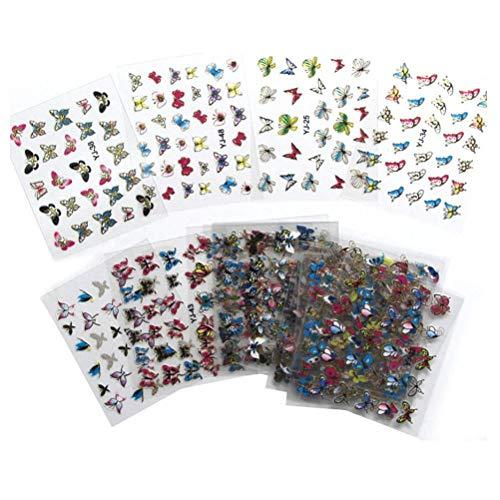TOOGOO 24 Feuilles Colore 3D Papillon Art De L'Ongle Autocollants De Transfert Conseils Manucure Decalcomanies Enveloppements Decoration Pour Femmes Filles
