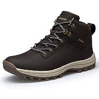 TSIODFO أحذية رجالية شتاء جلد مقاوم للماء المشي في الهواء الطلق أسود بني, (بني), 46 EU