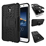 #6: Delkart Tough Military Grade Armor Defender Series Dual Protection Layer Hybrid TPU + PC Kickstand Back Case Cover for Lenovo ZUK Z1 - Black