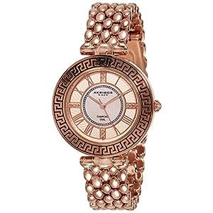 Akribos XXIV Women's Quartz Watch with Pink Dial and Rose Gold Alloy Bracelet AK808RG