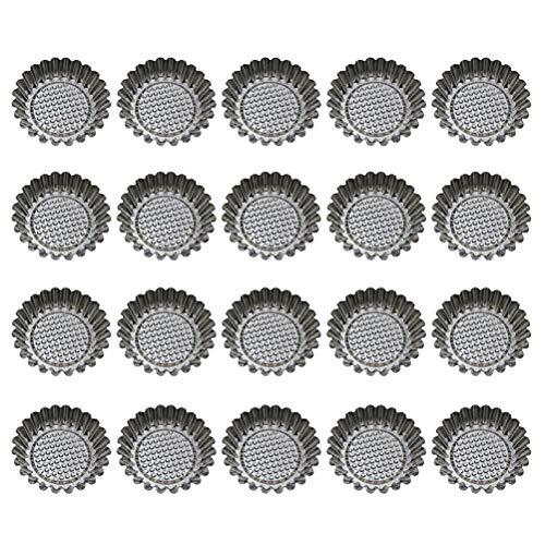 BESTONZON Besonzon 20 Stück Edelstahl Eier-Tart-Form, wiederverwendbar, für Cupcakes und Muffins, Backen (Backen, Muffin Tray)
