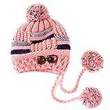 Butterme Berretto Caldo, invernale da donna, orecchini Patta Cappello Berretto lavorato a maglia berretto lavorato a maglia con pompon Pompon interno in morbido pile rosa Rosa taglia unica