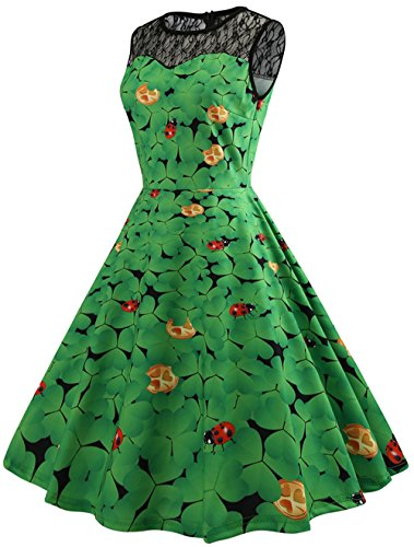 (Frauen Retro St. Patrick Day Kostüm Kleid Grün Klee und Marienkäfer Drucken Swing Party Kleid Schwarz Mesh Patchwork Design Kleid)