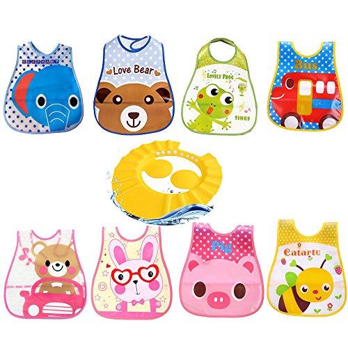 Harxin 8 pezzi bavaglini neonati impermeabile in plastica eva e 1 pezzi doccia cap per bambino (bavaglini neonati + doccia cap)