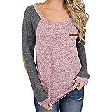 VRTUR T-Shirt Damen Oberteile Hemd Beiläufig Farbe Block Langarm Zur Seite Fahren Tops Lose Tunika Sweatshirt Bluse(Small,Rosa)