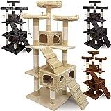 Katzenkratzbaum mit 3 Aussichtsplätzen, 2 Höhlen - 175cm Beige - Kratzbaum Katzenbaum Katzenspielzeug