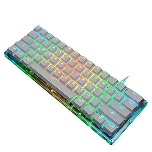 Transparente mechanische Tastatur mit 61 Schlüsseln RGB-Beleuchtung Kristall Keycap Professionelle Gamer-Tastatur
