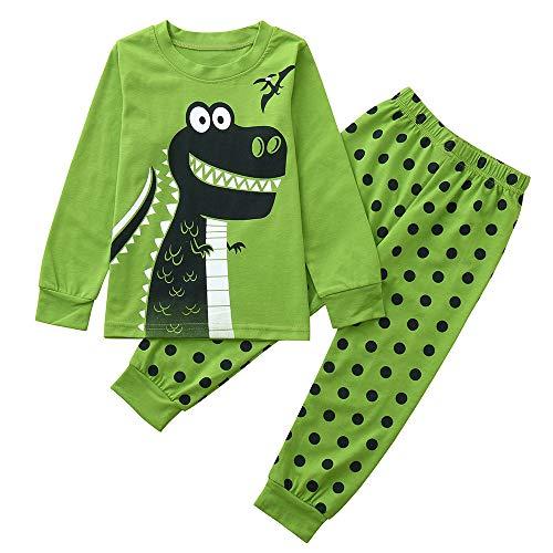 KUKICAT Pyjamas Enfant Service à Domicile Imprimé, Haut à Motif à Motif Dinosaure en Coton à Manches Longues en Coton + Pantalon Deux Pièces Sleepwea