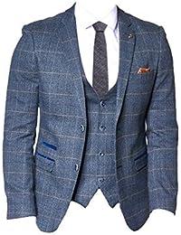 Marc Darcy Uomo 2 Pezzi Tweed a Quadri Giacca   Gilet Set - Scott Blu a e7542305d5b