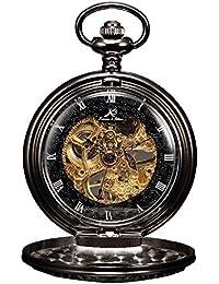 KS Unisex mecánico movimiento esqueleto Dial Retro textura reloj de bolsillo